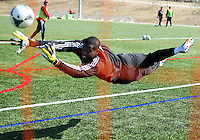 WASHINGTON, DC - February 06, 2012: Bill Hamid of DC United makes a save during a pre-season practice session at Long Bridge Park, in Arlington, Virginia on February 6, 2013.