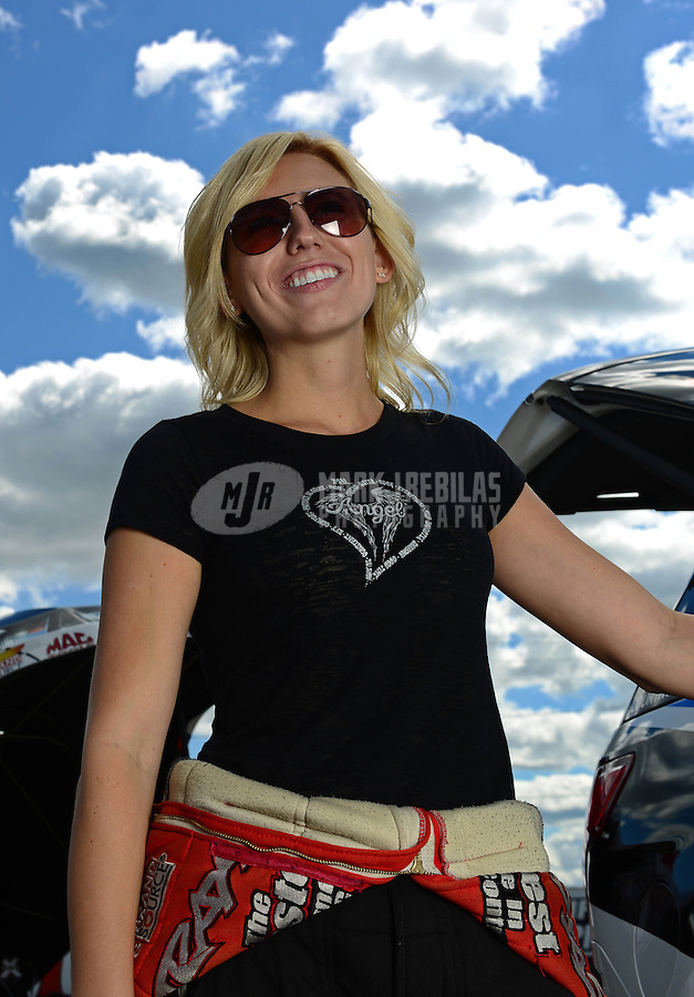 Sept 8, 2012; Clermont, IN, USA: NHRA funny car driver Courtney Force during qualifying for the US Nationals at Lucas Oil Raceway. Mandatory Credit: Mark J. Rebilas-