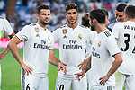 Real Madrid Nacho Fernandez, Marco Asensio and Fernando Alarcon 'Isco' during Santiago Bernabeu Trophy match at Santiago Bernabeu Stadium in Madrid, Spain. August 11, 2018. (ALTERPHOTOS/Borja B.Hojas)