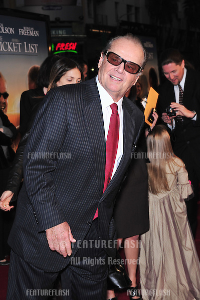"Jack Nicholson at the Los Angeles premiere of his new movie ""The Bucket List"" at the Cinerama Dome, Hollywood..December 16, 2007  Los Angeles, CA.Picture: Paul Smith / Featureflash"