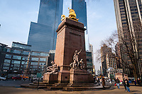 US, New York City. USS Maine Monument at Columbus Circle. Corner of Central Park, Manhattan.