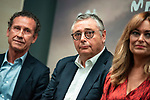 Jorge Valdano, Michael Robinson and Monica Marchante during the presentation of the strategic alliance between Movistar and Laliga<br /> October 4, 2019. <br /> (ALTERPHOTOS/David Jar)
