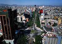 aerial photograph of the Avantel tower at the La Palma glorietta. Paseo de La Reforma Avenue, Mexico City