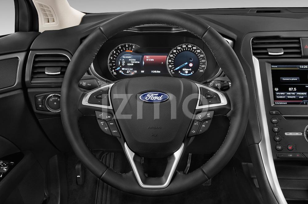 Car pictures of steering wheel view of a 2015 Ford Mondeo Titanium 5 Door Hatchback Steering Wheel