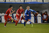 20190304 - LARNACA , CYPRUS : North Korean forward Wi Jong-sim (middle) and Finnish midfielder Ria Oling(right) pictured during a women's soccer game between Finland and Korea DPR , on Monday 4 March 2019 at the Antonis Papadopoulos Stadium in Larnaca , Cyprus . This is the third game in group A for Both teams during the Cyprus Womens Cup 2019 , a prestigious women soccer tournament as a preparation on the Uefa Women's Euro 2021 qualification duels. PHOTO SPORTPIX.BE | STIJN AUDOOREN