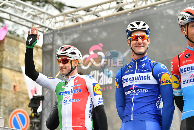 Italian Champion Elia Viviani (ITA) and Deceuninck-Quick Step sign on before Stage 3 of the 2019 Giro d'Italia, running 220km from Vinci to Orbetello, Italy. 13th May 2019<br /> Picture: Massimo Paolone/LaPresse | Cyclefile<br /> <br /> All photos usage must carry mandatory copyright credit (© Cyclefile | Massimo Paolone/LaPresse)