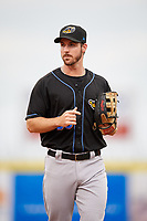 Akron RubberDucks right fielder Mike Papi (38) during a game against the Binghamton Rumble Ponies on May 12, 2017 at NYSEG Stadium in Binghamton, New York.  Akron defeated Binghamton 5-1.  (Mike Janes/Four Seam Images)