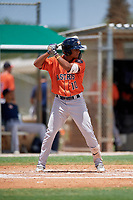 GCL Astros Rolando Espinosa (10) bats during a Gulf Coast League game against the GCL Marlins on August 8, 2019 at the Roger Dean Chevrolet Stadium Complex in Jupiter, Florida.  GCL Marlins defeated GCL Astros 5-4.  (Mike Janes/Four Seam Images)