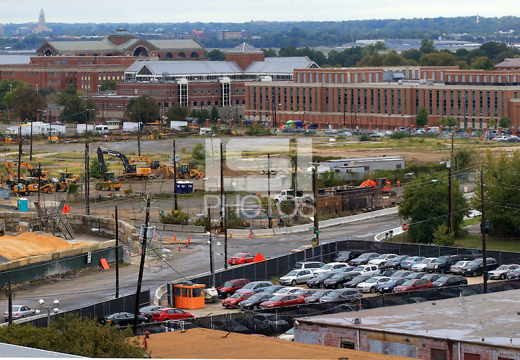 Washington D.C. - October 1, 2016: View of the future D.C. United soccer stadium site from the fourth level of Nationals Park baseball stadium. Buzzards Point area in Southwest Washington D.C. cleared for construction of the new soccer stadium for D.C. United scheduled to open in 2018.