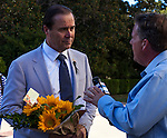 The Alliance Francaise de Sacramento held a vigil for the Nice massacre victims at the California State Capitol on Monday, July 18, 2016.  The Sacramento French Honorary Consul Guy Michelier spoke to the crowd, asked for a moment of silence, followed by singing La Marseillaise the national anthem of France.  After the vigil Michelier spoke with reporters.  The vigil was held for the victims of the Bastille Day, July 14, 2016, attack in France.  Photo/Victoria Sheridan