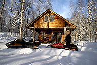 Clear Creek, Talkeetna Area, Alaska, U.S.A, January 1989. A sudden cold wave struck Alaska resulting to the temperature falling under 50 degrees Centigrade (58 degrees Fahrenheit). Mac Steven's Log Cabin.