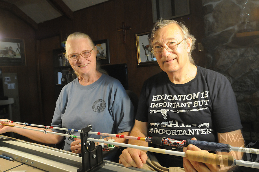 NWA Democrat-Gazette/FLIP PUTTHOFF <br /> Arkee Rods is truly a home-based business. Roberta and Bill Klindworth make the fishing rods in the living room of their home at Gateway.
