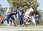 Palos Verdes, CA 09/24/16 - James Lewis (Rolling Hills #13), Ryan Kennedy (Chadwick #13), Ryan Trinh (Chadwick #8) in action during the non-conference CIF 8-Man Football  game between Rolling Hills Prep and Chadwick at Chadwick.