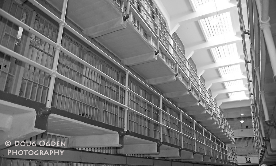 "Alcatraz Cell Block aka ""Times Square"" in Black and White"