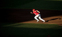 Cody Ramer #13 of the Arizona Wildcats runs during a College World Series Finals game between the Coastal Carolina Chanticleers and Arizona Wildcats at TD Ameritrade Park on June 28, 2016 in Omaha, Nebraska. (Brace Hemmelgarn/Four Seam Images)
