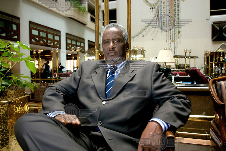Mohamed Afrah Qanyare at the Grand Regency Hotel in Nairobi. Qanyare is an ex warlord who was based to the south of the Mogadishu Dayniile neighbourhood. He was one of the early members of the United Somali Congress (USC), in a splinter faction distinct from the main branch run by Mohamed Farah Aideed. In December 2004, Qanyare was appointed Security Minister...