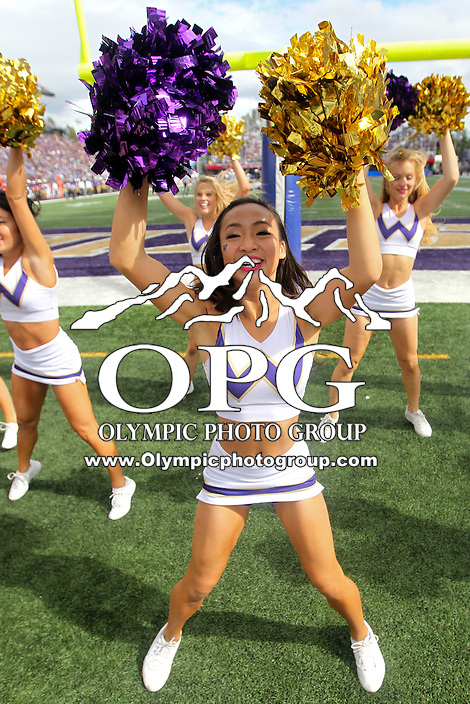 SEP 19, 2015:  University of Washington's cheerleader Julia Tran cheers against Utah State.  Washington defeated Utah State 31-17 at Husky Stadium in Seattle Washington.