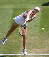Kiki Bertens (NED) during her victory over Venus Williams (USA) in their Ladies' Singles Third Round match<br /> <br /> Photographer Rob Newell/CameraSport<br /> <br /> Wimbledon Lawn Tennis Championships - Day 5 - Friday 6th July 2018 -  All England Lawn Tennis and Croquet Club - Wimbledon - London - England<br /> <br /> World Copyright &not;&copy; 2017 CameraSport. All rights reserved. 43 Linden Ave. Countesthorpe. Leicester. England. LE8 5PG - Tel: +44 (0) 116 277 4147 - admin@camerasport.com - www.camerasport.com