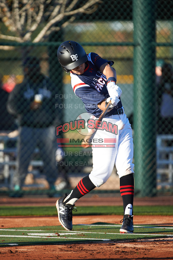 Harold Coll (4) of Cathedral High School in Hyde Park, Massachusettes during the Baseball Factory All-America Pre-Season Tournament, powered by Under Armour, on January 13, 2018 at Sloan Park Complex in Mesa, Arizona.  (Art Foxall/Four Seam Images)