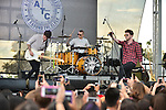 SUNRISE, FL - DECEMBER 21: (L-R) Musicians Jake Roche, Lewi Morgan and Charley Bagnall of the band Rixton performs at Y100's Jingle Ball Village, Y100's Jingle Ball 2014 official pre-show at BB&T Center on December 21, 2014 in Sunrise, Florida.  (Photo by Johnny Louis/jlnphotography.com)