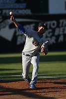 Mitchell White (33) of the Rancho Cucamonga Quakes throws in the bullpen before pitching against the Lancaster JetHawks at The Hanger on April 28, 2017 in Lancaster, California. Lancaster defeated Rancho Cucamonga, 16-10. (Larry Goren/Four Seam Images)