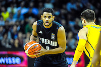 Corey Webster in action during the FIBA Oceania men's tournament basketball match between New Zealand and Australia at TSB Bank Arena, Wellington, New Zealand on Tuesday, 18 August 2015. Photo: Dave Lintott / lintottphoto.co.nz