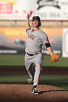 Stephen Johnson #19 of the San Jose Giants pitches against the High Desert Mavericks at Heritage Field on August 31, 2014 in Adelanto, California. High Desert defeated San Jose, 9-6. (Larry Goren/Four Seam Images)