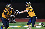Althoff quarterback Will Ache (right) hands off the ball to running back Curtis Sharp. Mater Dei played football at Althoff on Friday September 13, 2019. <br /> Tim Vizer/Special to STLhighschoolsports.com