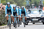 Movistar Team led by Marc Soler (ESP) and Nairo Quintana (COL) in action during Stage 2 of the 2019 Tour de France a Team Time Trial running 27.6km from Bruxelles Palais Royal to Brussel Atomium, Belgium. 7th July 2019.<br /> Picture: Colin Flockton | Cyclefile<br /> All photos usage must carry mandatory copyright credit (© Cyclefile | Colin Flockton)