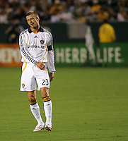 LA Galaxy midfielder David Beckham (23) reacts to just missing a goal. CD Chivas USA defeated the LA Galaxy 3-0 in the Super Classico MLS match at the Home Depot Center in Carson, California, Thursday, August 23, 2007.