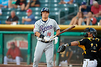 Hank Conger (16) of the Reno Aces bats against the Salt Lake Bees in Pacific Coast League action at Smith's Ballpark on June 15, 2017 in Salt Lake City, Utah. The Aces defeated the Bees 13-5. (Stephen Smith/Four Seam Images)