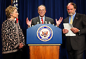 Washington, DC - November 14, 2002 -- United States Senator Hillary Rodham Clinton (Democrat of New York), left, United States Senator Jon Corzine (Democrat of New Jersey), right, look on as United States Senator Chuck Schumer (Democrat of New York), center, makes his opening statement during a press conference in the United States Capitol in Washington, DC on November 14, 2002. The 3 senators called for the inclusion of a 9/11 Investigative Commission in the Homeland Security Bill. .Credit: Ron Sachs / CNP