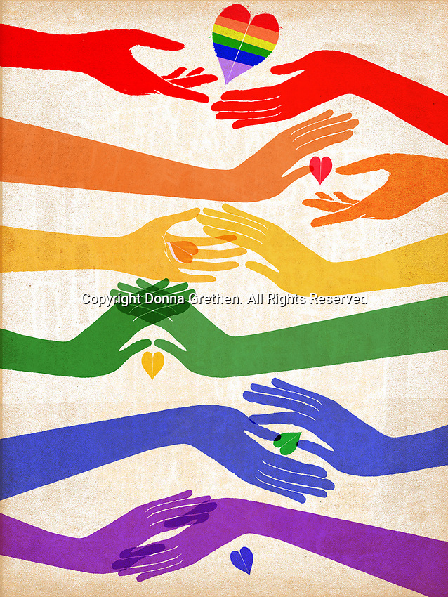 Hands and heart in shape of rainbow flag