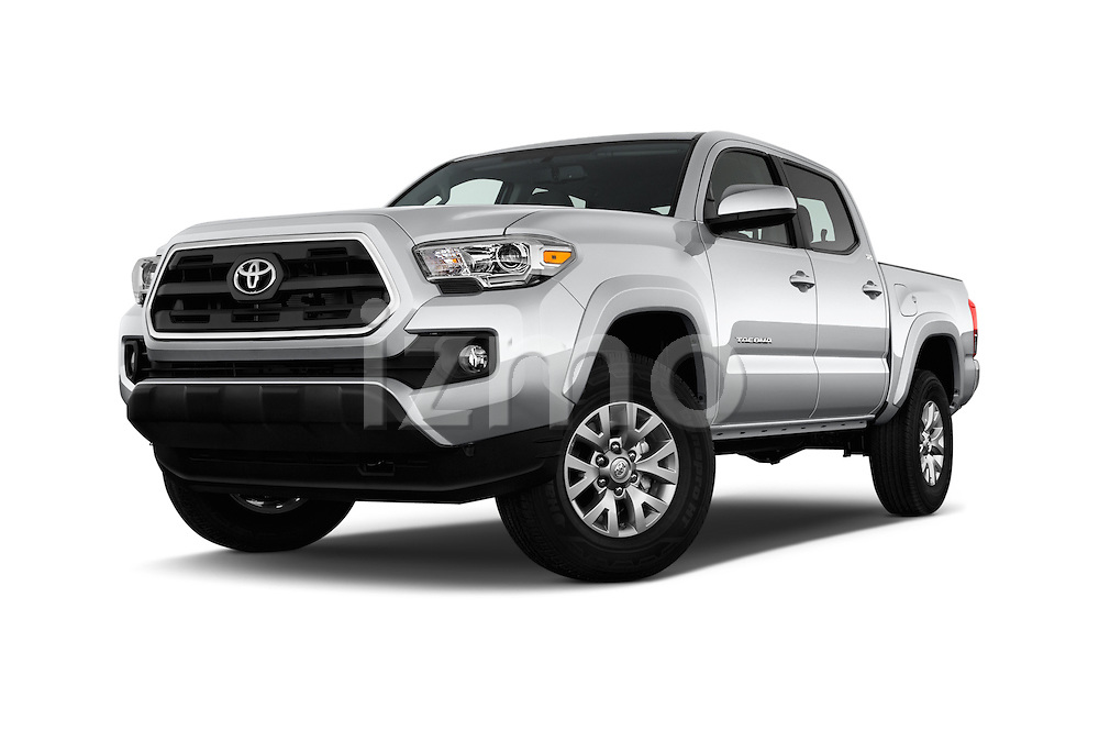Stock pictures of low aggressive front three quarter view of 2016 Toyota Tacoma SR5 4 Door Pickup Low Aggressive