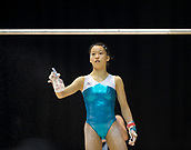 21st March 2018, Arena Birmingham, Birmingham, England; Gymnastics World Cup, day one, womens competition; Hitomi Hatakeda (JPN) spraying the Uneven Bars during  Training