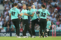 Gareth Batty of Surrey celebrates with his team mates after taking the wicket of Tom Westley during Surrey vs Essex Eagles, Vitality Blast T20 Cricket at the Kia Oval on 12th July 2018
