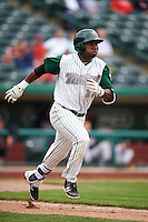 Fort Wayne TinCaps shortstop Ruddy Giron (16) runs to first during the second game of a doubleheader against the Great Lakes Loons on May 11, 2016 at Parkview Field in Fort Wayne, Indiana.  Great Lakes defeated Fort Wayne 5-0.  (Mike Janes/Four Seam Images)