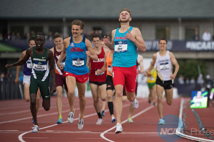 EUGENE, OR - JUNE 09: Josh Kerr of the University of New Mexico races to a victory in the 1500 meter run during the Division I Men's Outdoor Track & Field Championship held at Hayward Field on June 9, 2017 in Eugene, Oregon. Kerr ran a 3:43.03 time. (Photo by Jamie Schwaberow/NCAA Photos via Getty Images)