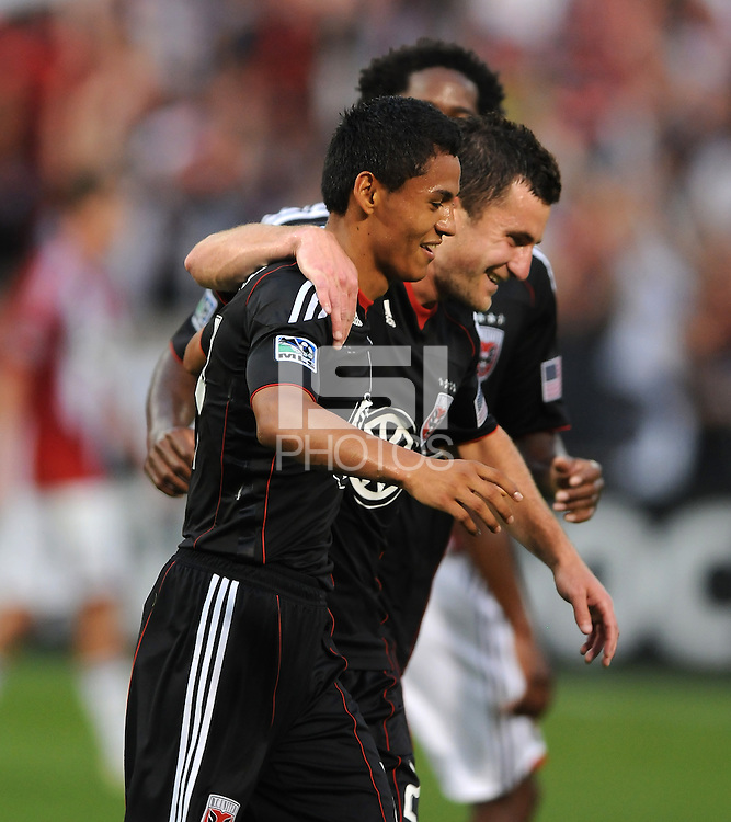 DC United Andy Najar (14) celebrates his goal in the 26th minute of the game.  DC United defeated Chivas USA 3-2 at RFK Stadium, Saturday May 29, 2010.