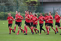 20200627 - TUBIZE , Belgium : Red Flames U19 doing the warm up run during a training session of the Belgian Red Flames U19, on the 27 th of June 2020 in Tubize.  PHOTO SEVIL OKTEM| SPORTPIX.BE