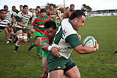 Sam Soane tries to stay in the field of play as Notise Tauafua does his best in attempting to push him over the touchline. Counties Manukau Premier Club Rugby game between Wauku & Manurewa played at Waiuku on Saturday June 6th. Manurewa won 36 - 31 after leading 14 - 12 at halftime.
