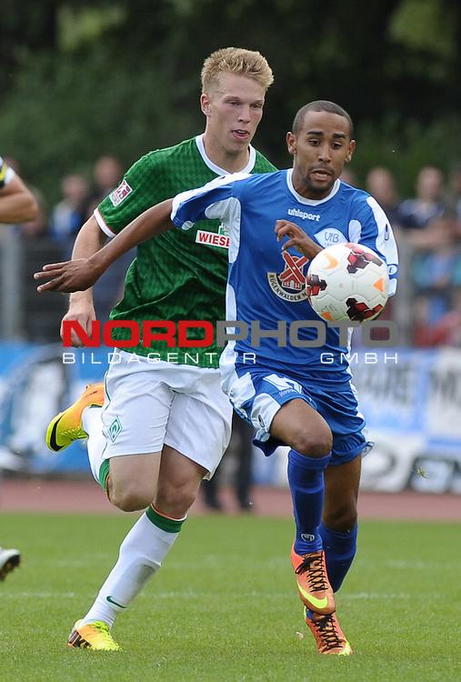 31.08.2013, Platz 11, Bremen, GER, RLN, Werder Bremen II vs VfB Oldenburg, im Bild Shaun Minns (Oldenburg #14, vorn)<br /> <br /> Foto &copy; nph / Frisch