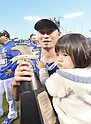 Norichika Aoki (Royals),<br /> OCTOBER 15, 2014 - MLB : Norichika Aoki of the Kansas City Royals celebrates with the series trophy after winning the Major League Baseball American League championship series Game 4 at Kauffman Stadium in Kansas City, Missouri, USA. <br /> (Photo by AFLO)