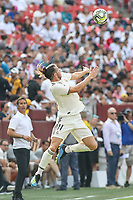 Landover, MD - August 4, 2018: Real Madrid forward Gareth Bale (11) heads the ball during the match between Juventus and Real Madrid at FedEx Field in Landover, MD.   (Photo by Elliott Brown/Media Images International)