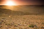 Valleys in sandstone desert at sunset, Hawf Protected Area, Yemen