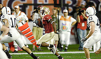 FSU Kick Return Specialist Kenny O'Neal takes this Penn State kickoff 36 yards in the first quarter of the 2006 FedEx Orange Bowl Game.  O'Neal returned two kickoffs for a total of 71 yards.