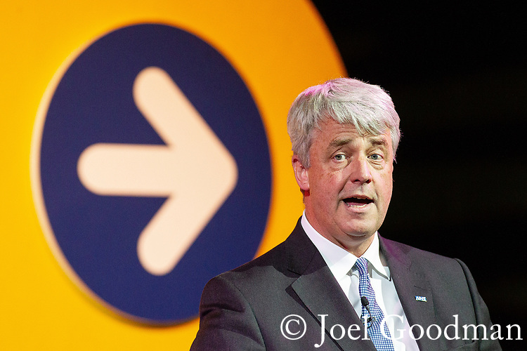 © Joel Goodman - 07973 332324 . 20/06/2012. Manchester , UK . ANDREW LANSLEY addresses the NHS Confederation Annual Conference at Manchester Central , in Manchester . During his speech , the Health Secretary called on doctors to call off their strike , planned for tomorrow (Thursday 21st). Photo credit: Joel Goodman
