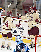 Meagan Mangene (BC - 24), Kate Leary (BC - 28), Taylor Wasylk (BC - 9) - The Boston College Eagles defeated the visiting University of Maine Black Bears 10-0 on Saturday, December 1, 2012, at Kelley Rink in Conte Forum in Chestnut Hill, Massachusetts.