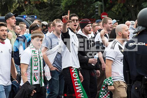 Legia Warszawa's supporters before the match of UEFA Champions League group stage between Real Madrid and Legia de Varsovia at Santiago Bernabeu Stadium in Madrid, Spain. October 18, 2016. (ALTERPHOTOS/Rodrigo Jimenez)