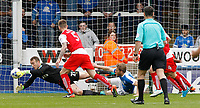 Fleetwood Town's Alex Cairns denies Peterborough United a golden opportunity <br /> <br /> Photographer David Shipman/CameraSport<br /> <br /> The EFL Sky Bet League One - Peterborough United v Fleetwood Town - Friday 14th April 2016 - ABAX Stadium  - Peterborough<br /> <br /> World Copyright &copy; 2017 CameraSport. All rights reserved. 43 Linden Ave. Countesthorpe. Leicester. England. LE8 5PG - Tel: +44 (0) 116 277 4147 - admin@camerasport.com - www.camerasport.com